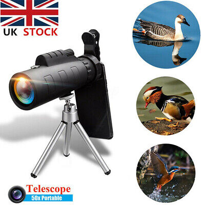 50X HD Zoom Monocular Night Vision Telescope + Clip For Mobile Phone UK