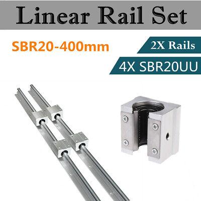 2Set SBR20-400mm 20mm Linear Slide Rail Shaft + 4Pcs SBR20UU Bearing Block CNC