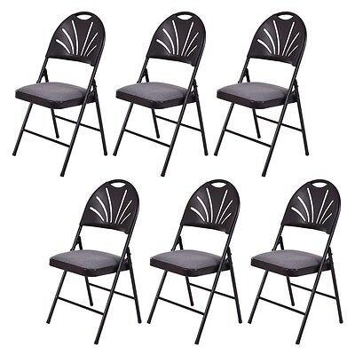 Set of 6 Folding Chairs Fabric Padded Seat Plastic Back Metal Frame Home Office