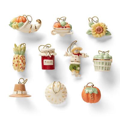 Lenox Autumn Favorites Miniature Tree Ornaments 10 Thanksgiving Pie Pumpkin NEW