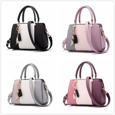 US Lady Stitching Women Leather Designer Purses Handbags Shoulder Bag Tassels