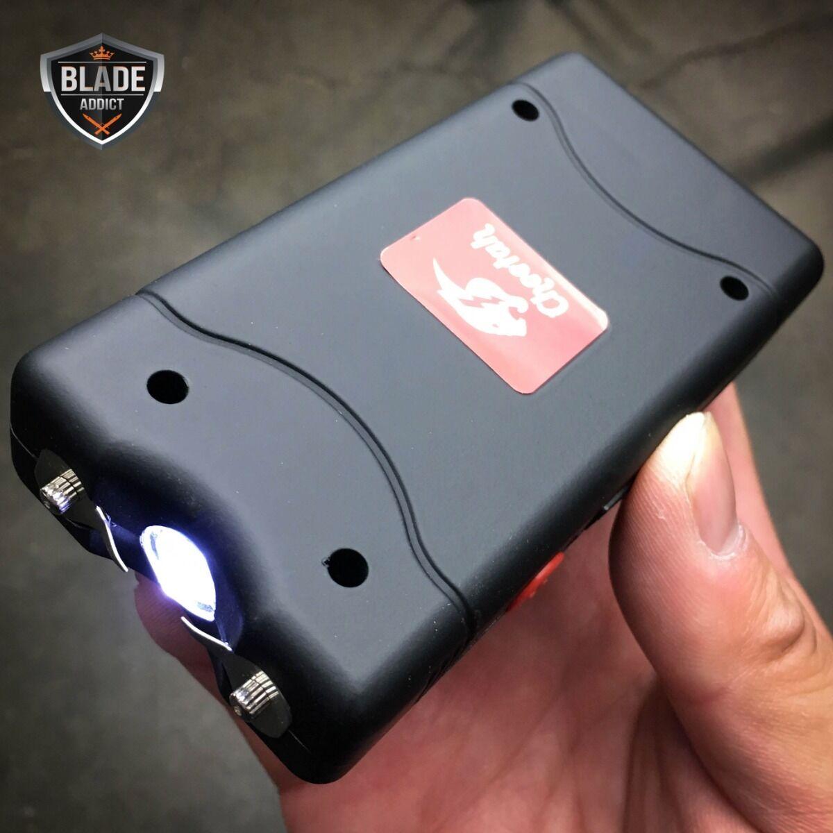 BLACK 90 MV Mini Rechargeable LED LIGHT TACTICAL Police Stun Gun + Taser Case