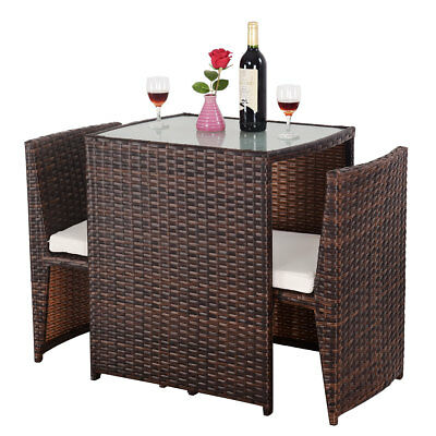 3 PCS Cushioned Outdoor Wicker Patio Set Seat Brown Garden Lawn Sofa Furniture