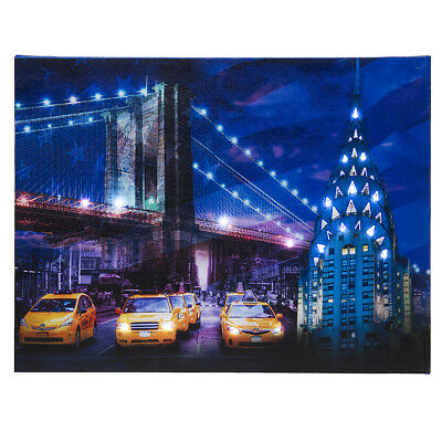 (LED Lighted Up New York City Chrysler Building Brooklyn Bridge Canvas Wall Art)