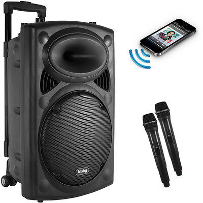 Portable Rechargeable Karaoke Bluetooth Party Speaker W  2 Mic Fm Radio Usb Sd