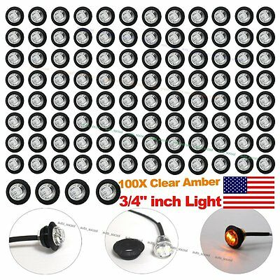 100X 34 Clear Amber LED Clerance Marker Bullet Lights Lamps Truck Trailer Bus