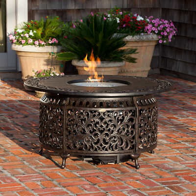- GAS FIRE PIT ROUND Clear Fire Glass Backyard Patio Poolside BRONZE Covers