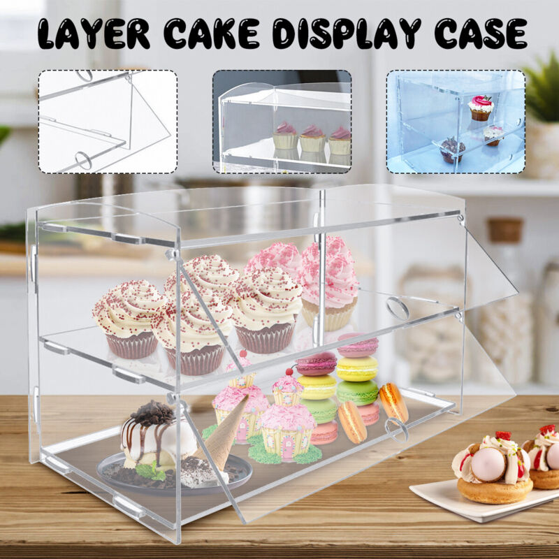 2 Layer Acrylic Bakery Pastry Display Cabinet Cakes Donuts Cupcakes Stand Case