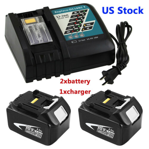 2xReplace for Makita 18v Battery 4500mAH BL1845+1xfor Makita DC18RC Fast Charger