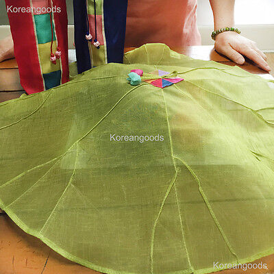 Food Cover Table Cloth Korea Traditional Gift Ramie fabric green & brown Set
