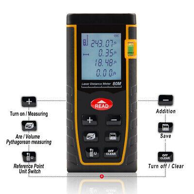 80m 262ft Digital Lcd Laser Distance Meter Range Finder Measure Diastimeter