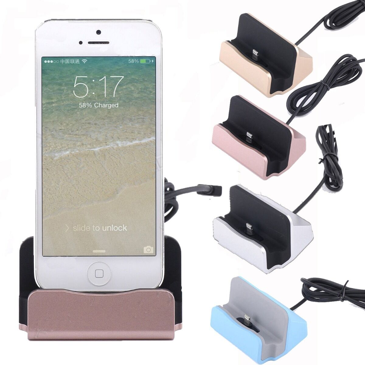 Desktop Charging Dock Charger Data Sync Station Cradle for iPhone SE 6 6S 7 Plus | eBay