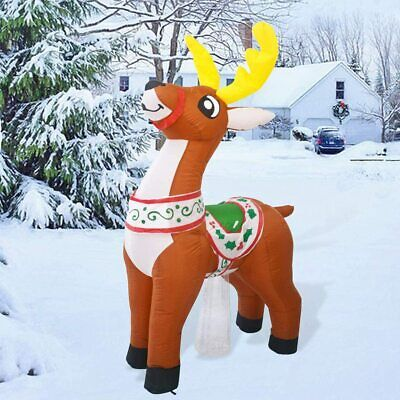 GOOSH Christmas Inflatable LED Reindeer Lighted Blow up Outdoor Yard Decoration