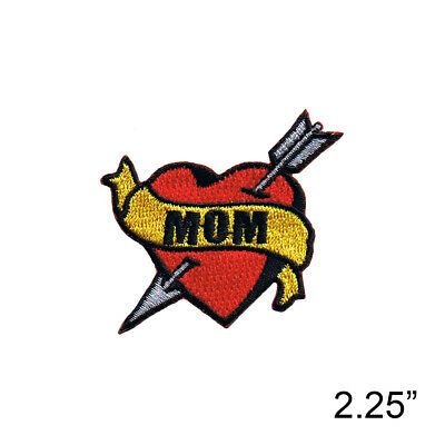 Tattoo Heart Red Heart Arrow Iron On Patch - Mom Biker I Love #197