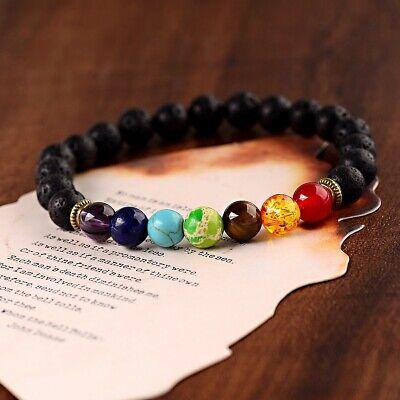7 Chakra Healing Beaded Bracelets Lava Stone Reiki Bracelets Gift For Women Men