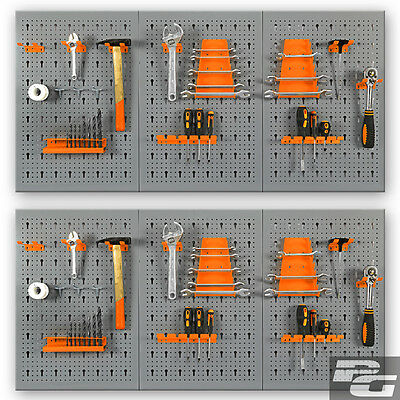 2x XL-Werkzeugwand SET aus Metal mit 30 tlg. Sortiment Lochwand Werkstattwand