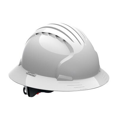 Jsp Full Brim Hard Hat With 6 Point Ratchet Suspension White