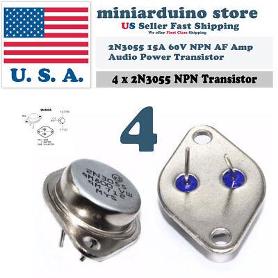 4pcs 2n3055 Npn Af Amp Audio Power Transistor 15a60v Bipolar