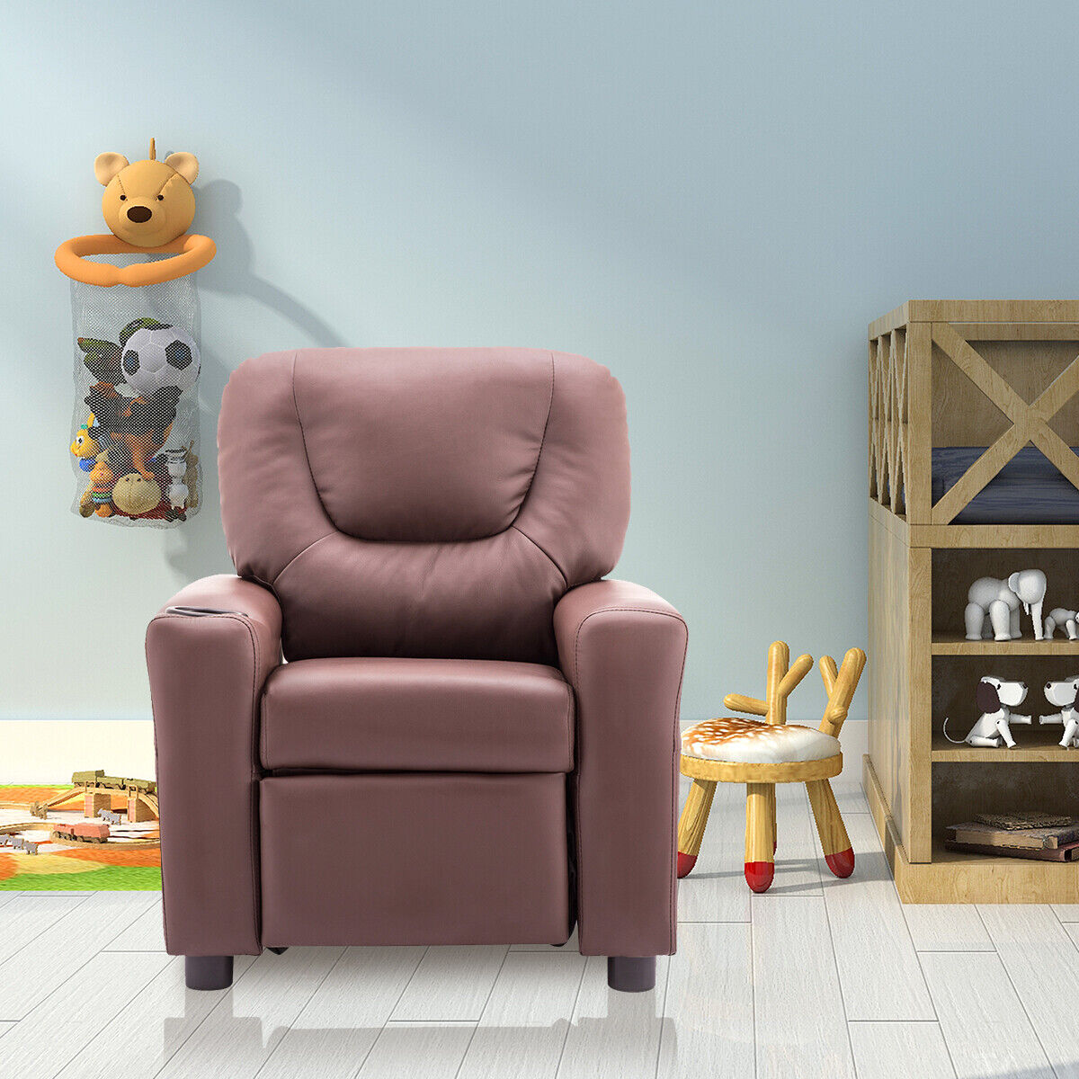 Kids Recliner Armchair with Cup Holder Flash Furniture Small