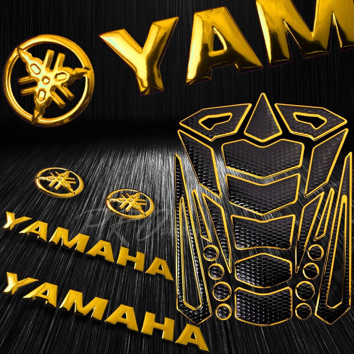 Details about 24pcs chrome gold fuel tank pad 8 for yamaha logo letter fairing emblem sticker