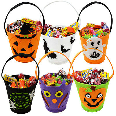 Halloween Candy Bags Buckets Baskets Totes Pumpkin Ghost Goodie Pails Bags Gift  - Halloween Pumpkin Buckets