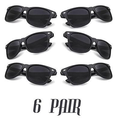 6 Pairs Wholesale BLACK SUPER DARK LARGE Vintage Fashion Sunglasses lens new - Wholesale Black Sunglasses