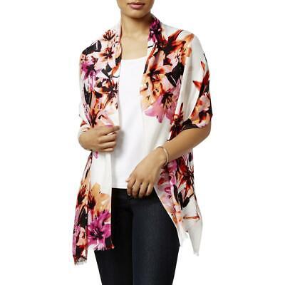 INC Womens White Knit Floral Print Fringe Shawl/Wrap O/S BHFO 5358