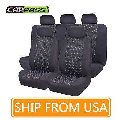 CARPSS Black and Blue Color Mesh Cloth Full Set Car Seat Cover fit Universal Car