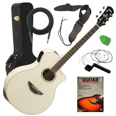 apx600 acoustic electric guitar vintage white stage