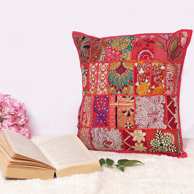 Gray Indian Decorative Embroidery Cushion,Handmade Cushion Cover,Vintage Cushion Cover,Unique Cushion Cover,Embroidered Cushion Cover