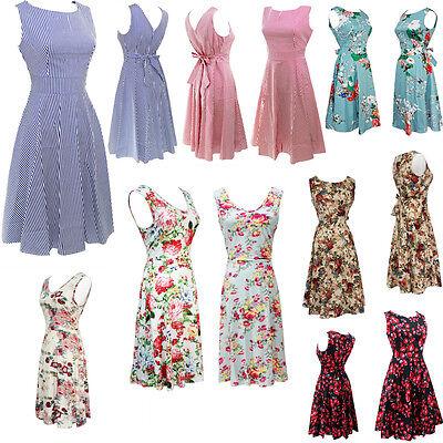 Lady Summer Sleeveless Vintage Floral Evening Party Cocktail Vest Dress Lot JI