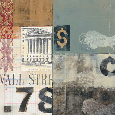 Wall Street Art Print Bull Shares   Alec Parker 12X12 Stock Market Broker Poster