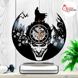 Joker Batman Vinyl Record Wall Clock Arkham Asylum Knight Comic Decor Best Gifts