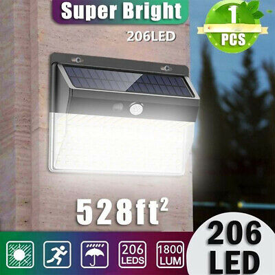 206 Led Solar Power Pir Motion Sensor Wall Light Outdoor Garden Path Yard Lamp