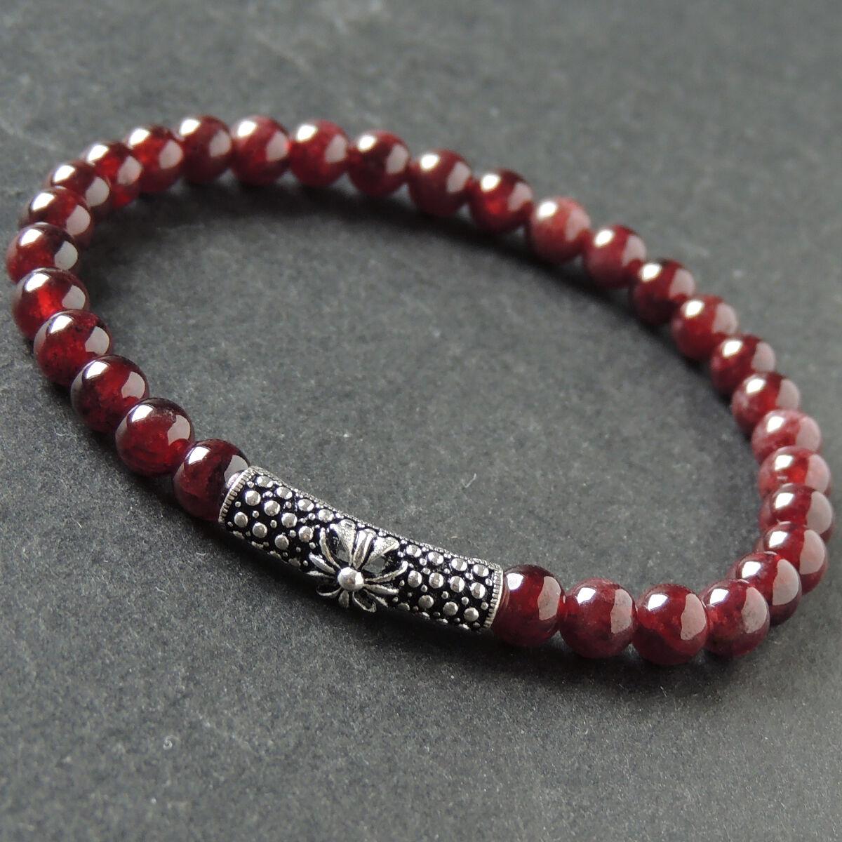 Sacred Cross Charm Bracelet Natural Garnet 925 Sterling Silver for Men and Women
