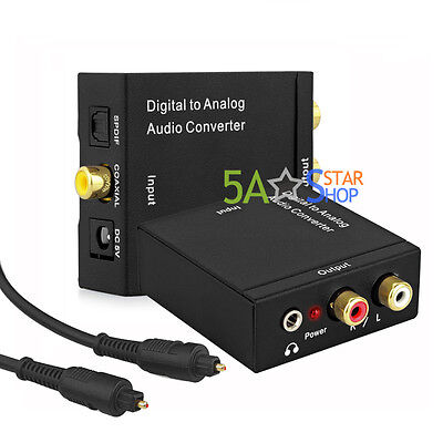 Digital Optical Coaxial Toslink to Analog L/R RCA Audio Converter Adapter 3.5mm