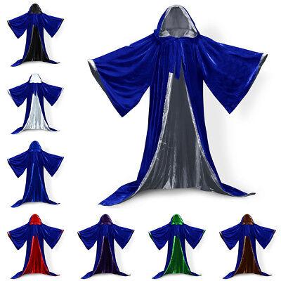 Velvet Cloak Line With Sleeves Robe Halloween Hooded Wizard Medieval Renaissance (Black Hooded Cloak With Sleeves)