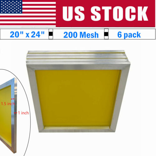 """6 Pack 20"""" x 24"""" Aluminum Silk Screen Printing Frame with 200 Yellow Mesh Count"""