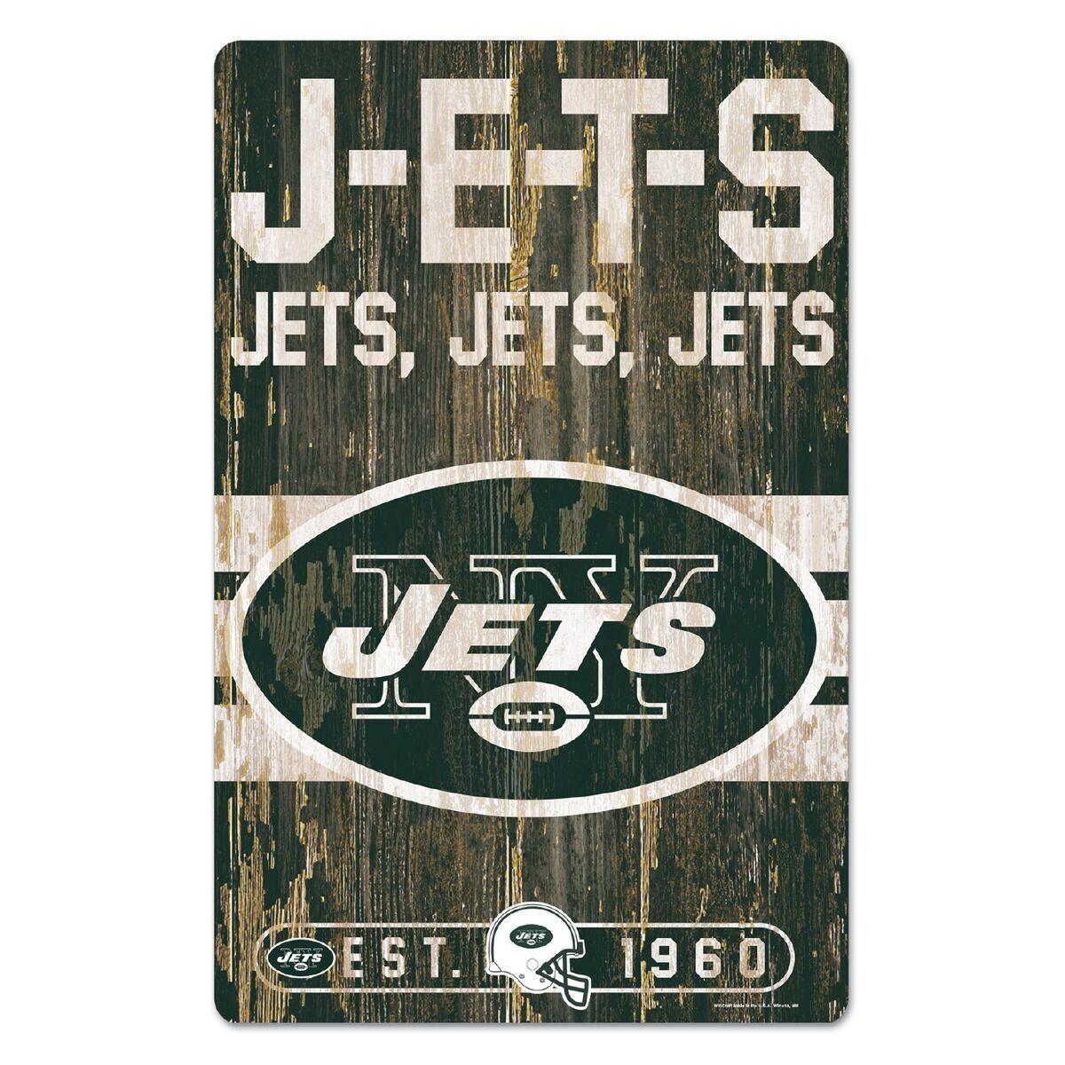 NFL Football New York Jets NY Slogan Wood Sign Holzschild Holz Wandschmuck Deko