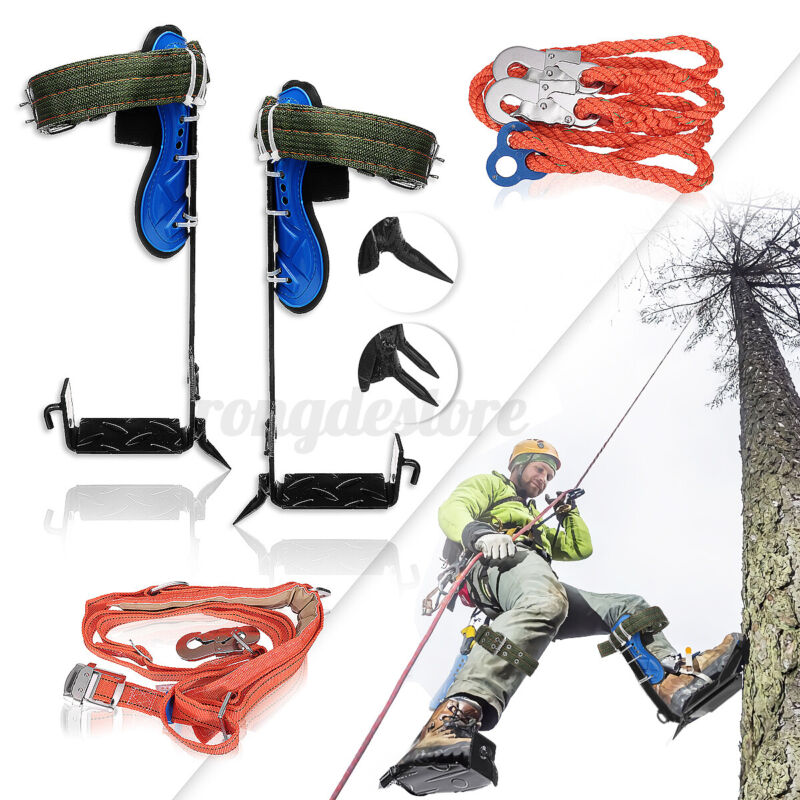 Tree/Pole Climbing Spike Set, Adjustable Lanyard Carabiner, Safety Belt Straps U