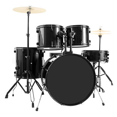 New 5-Piece Full Size Complete Adult Drum Set +Cymbal+Throne Black