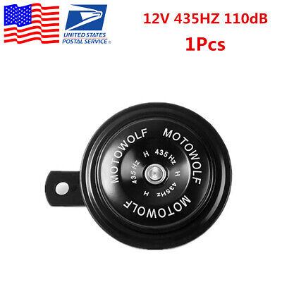1X Black Metal 435HZ 110dB Loud Tone Motorcycle Snail Horn Loudspeaker 12V -USA