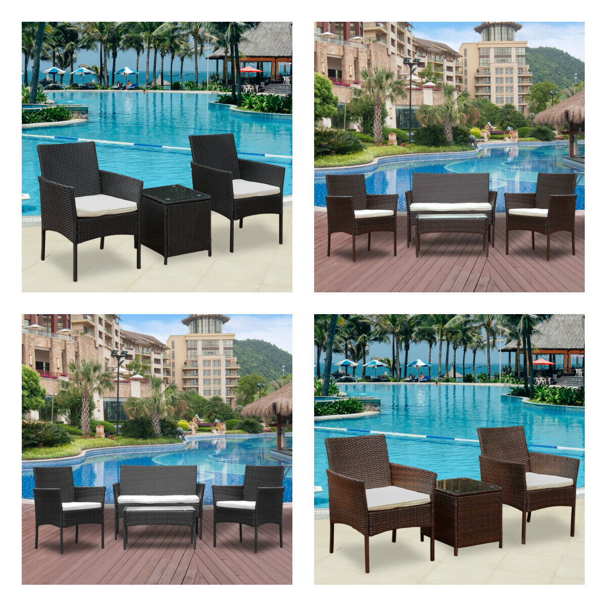 Garden Furniture - 3/4Pcs Rattan Garden Furniture Set Table Chair Sofa Table Outdoor Patio Set Yard