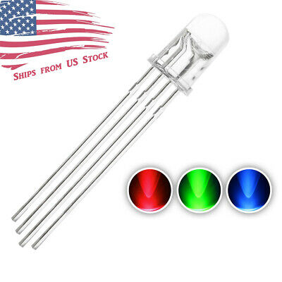 5pcs 5mm 4pin Common Anode Clear Rgb Tri-color Red Green Blue Led Diodes Us