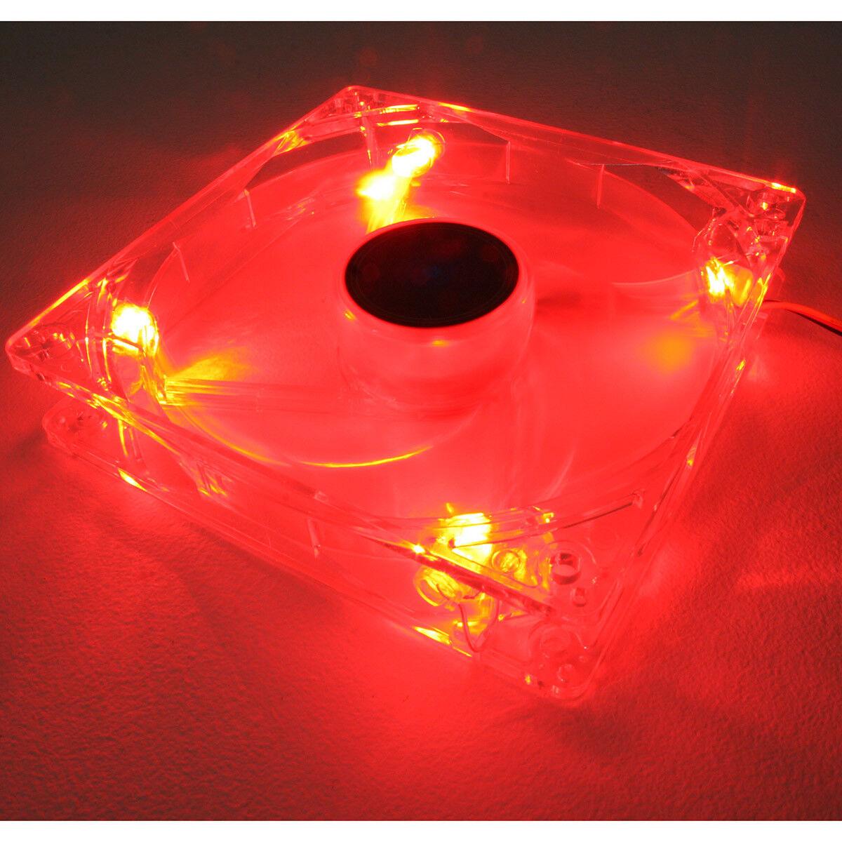 12cm 120mm LED rosso Ventola per custodia PC 3 51.73 CFM BRONZINA 1200RPM 4 PIN