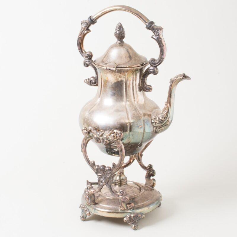 Antique Silverplate Tilting Swinging Coffee Tea Server Pot on Warmer Stand