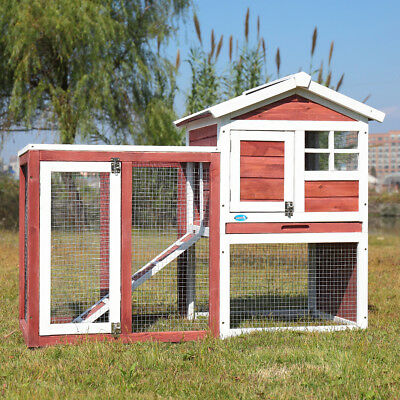 Outdoor Rabbit Hutch Cage House Wooden Habitat Animal Pet Small Chicken Coop