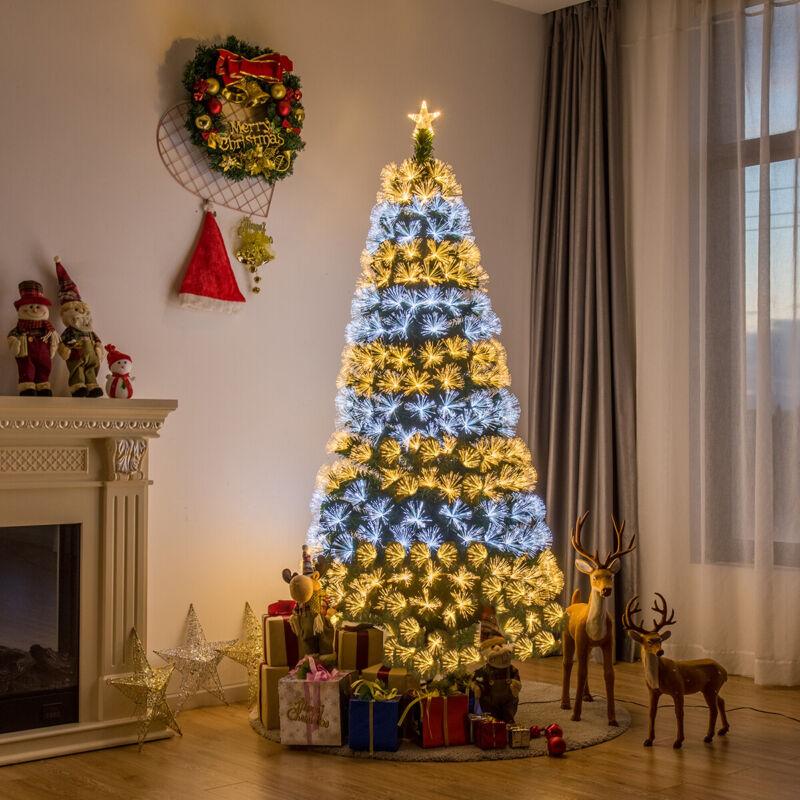 Costway 7Ft Pre-Lit Fiber Christmas Tree 8 Flash Modes PVC W/ Double-Color Light
