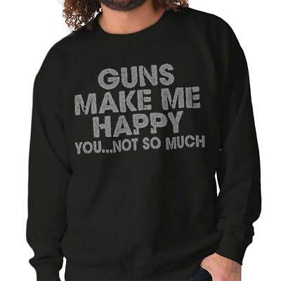 Gun Make Happy USA Shirt   American Gift 2nd Amendment Funny Crewneck Sweatshirt