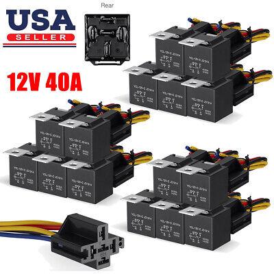 5-20pcs 12v 3040 Amp 5-pin Car Spdt Automotive Relay Wires Harness Socket Set